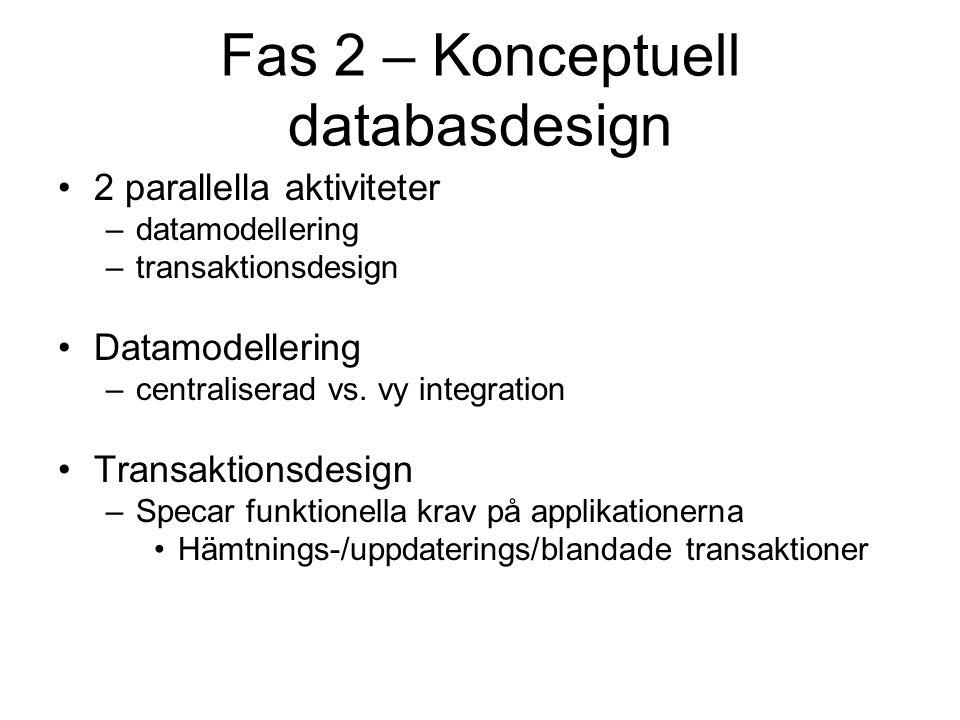 Fas 2 – Konceptuell databasdesign