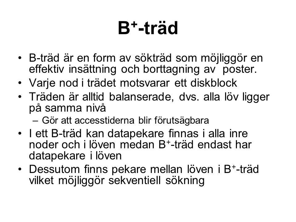 B+-träd B-träd är en form av sökträd som möjliggör en effektiv insättning och borttagning av poster.