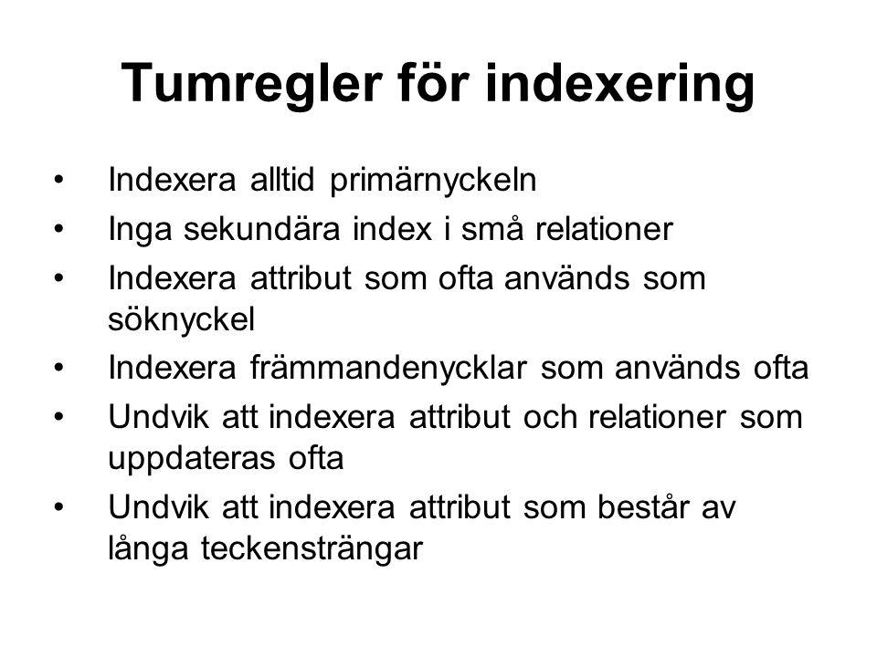 Tumregler för indexering
