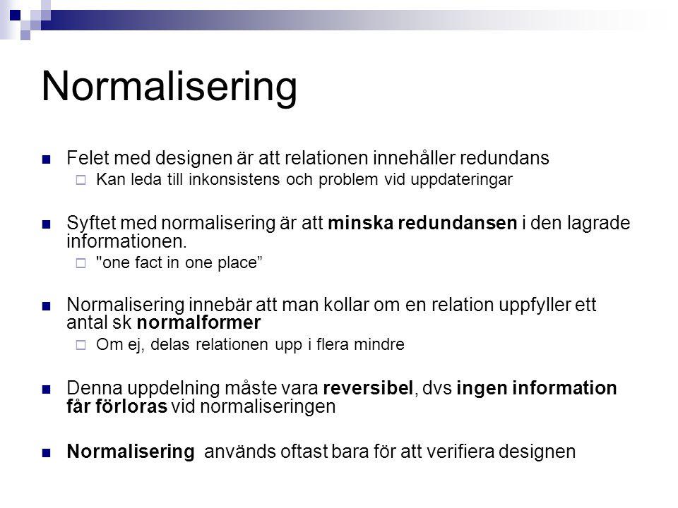 Normalisering Felet med designen är att relationen innehåller redundans. Kan leda till inkonsistens och problem vid uppdateringar.