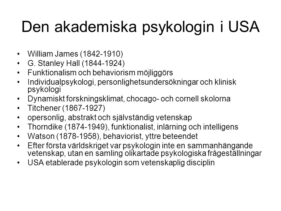 Den akademiska psykologin i USA