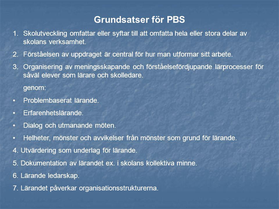 Grundsatser för PBS Skolutveckling omfattar eller syftar till att omfatta hela eller stora delar av skolans verksamhet.