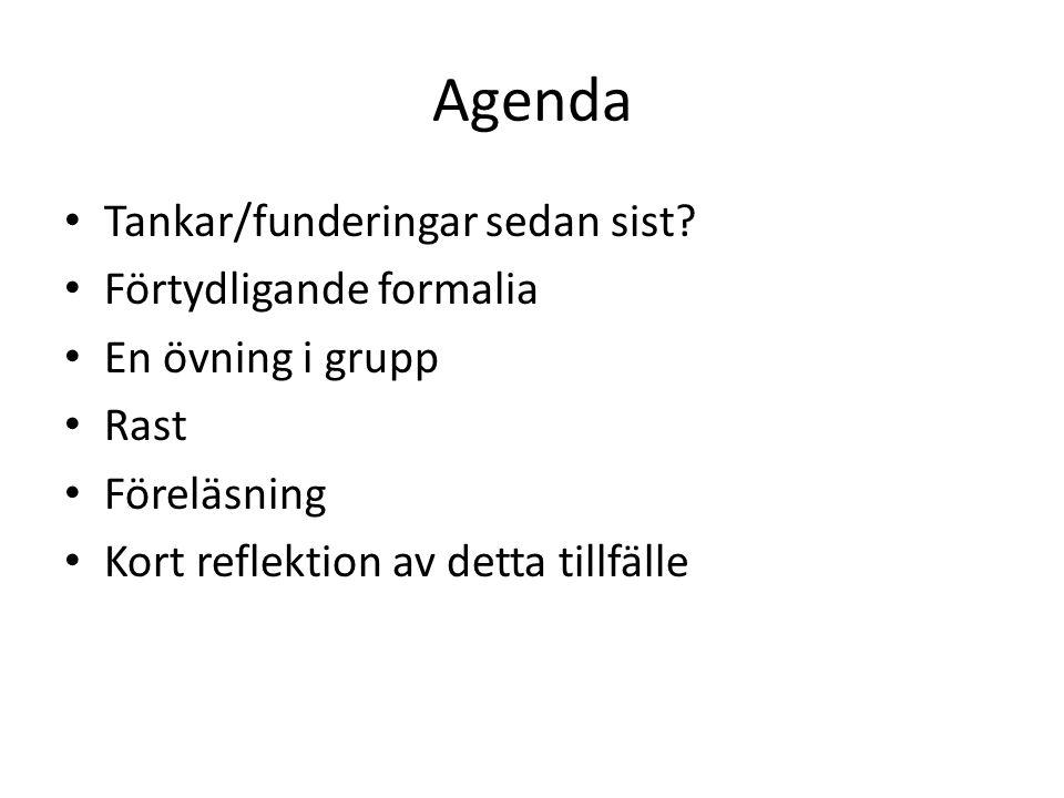 Agenda Tankar/funderingar sedan sist Förtydligande formalia