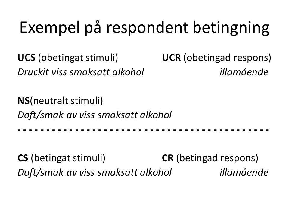 Exempel på respondent betingning