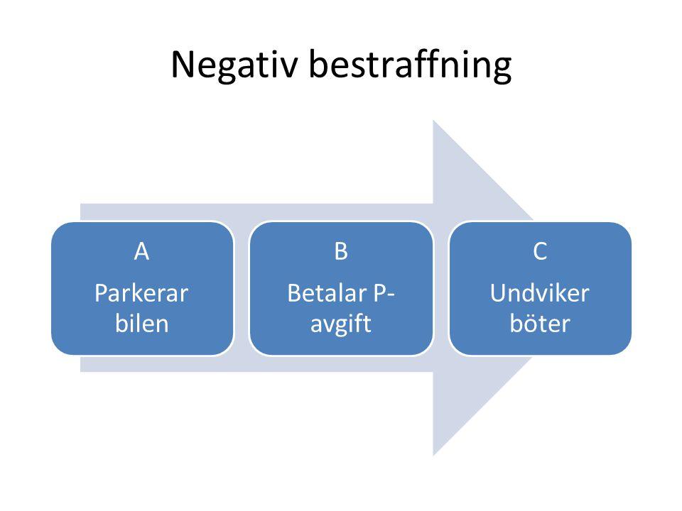 Negativ bestraffning Parkerar bilen A Betalar P-avgift B