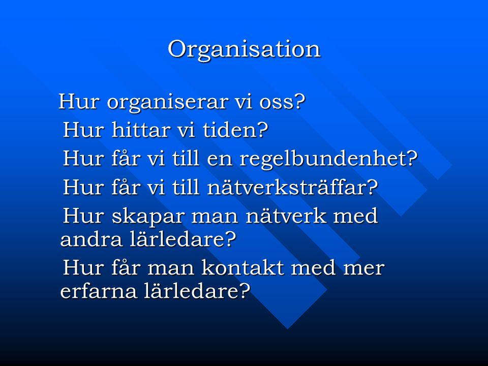 Organisation Hur organiserar vi oss Hur hittar vi tiden