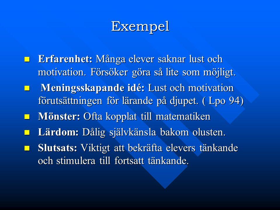 Exempel Erfarenhet: Många elever saknar lust och motivation. Försöker göra så lite som möjligt.