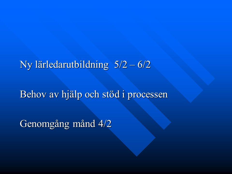 Ny lärledarutbildning 5/2 – 6/2