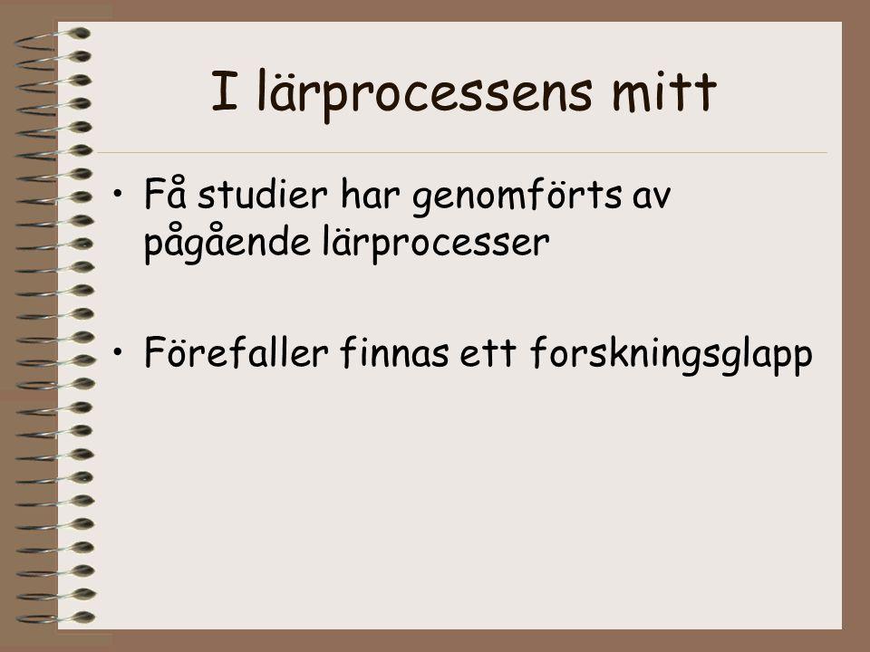 I lärprocessens mitt Få studier har genomförts av pågående lärprocesser.