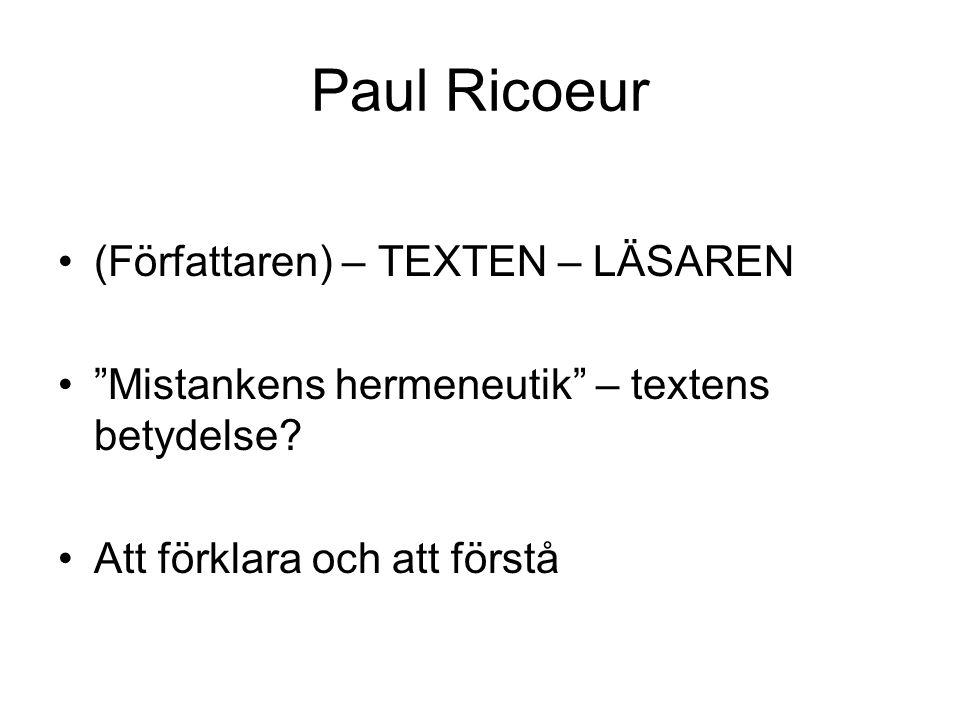 Paul Ricoeur (Författaren) – TEXTEN – LÄSAREN