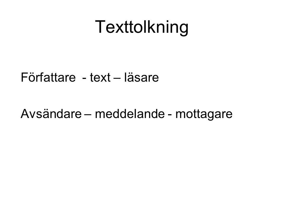 Texttolkning Författare - text – läsare
