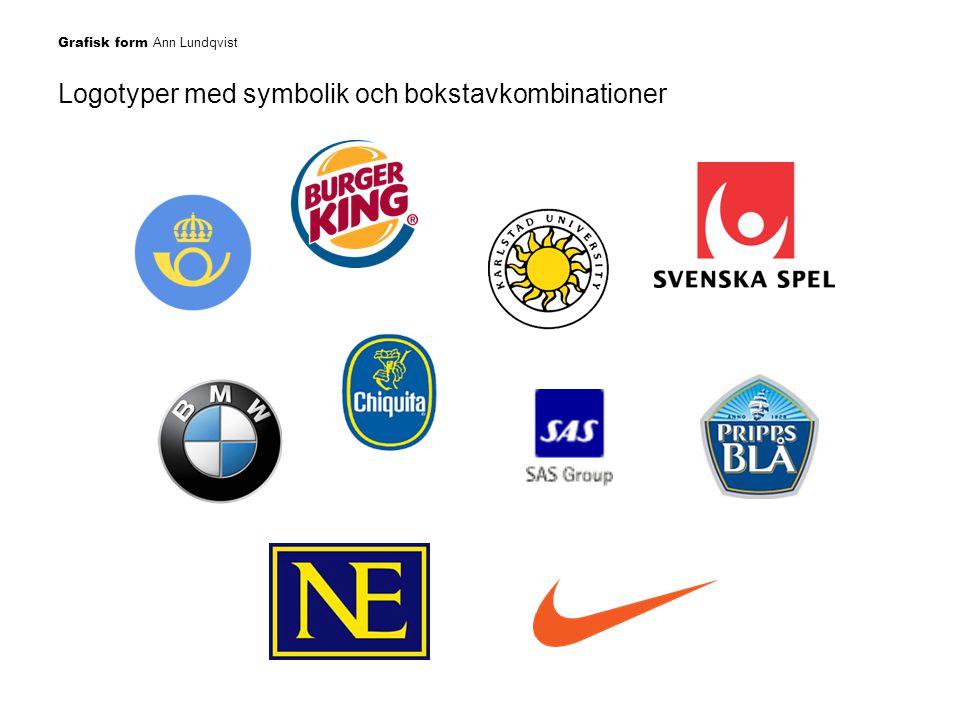 Logotyper med symbolik och bokstavkombinationer