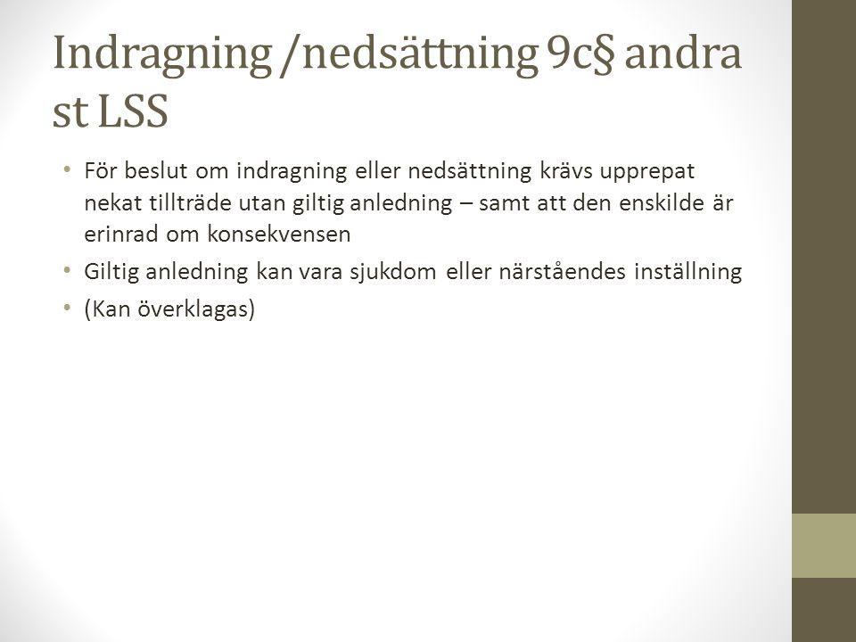 Indragning /nedsättning 9c§ andra st LSS