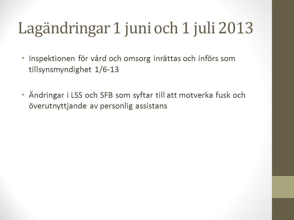 Lagändringar 1 juni och 1 juli 2013
