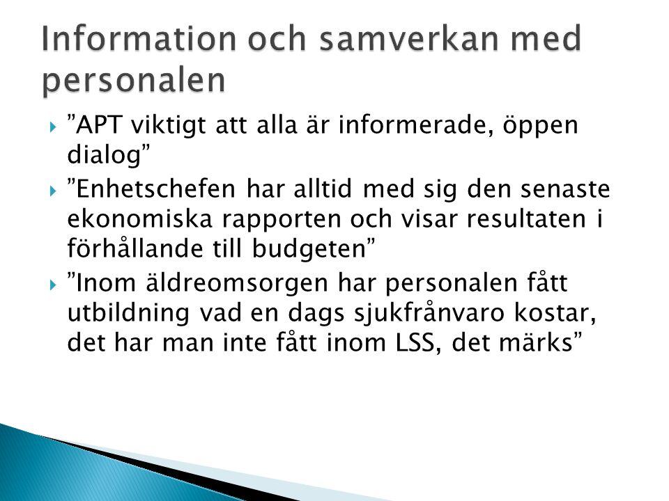 Information och samverkan med personalen
