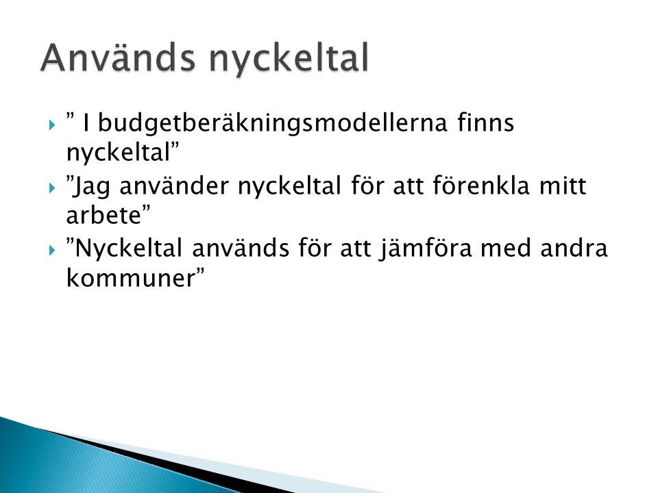 Används nyckeltal I budgetberäkningsmodellerna finns nyckeltal