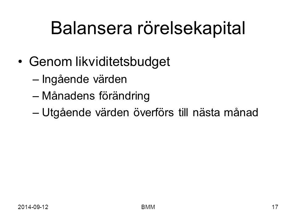 Balansera rörelsekapital