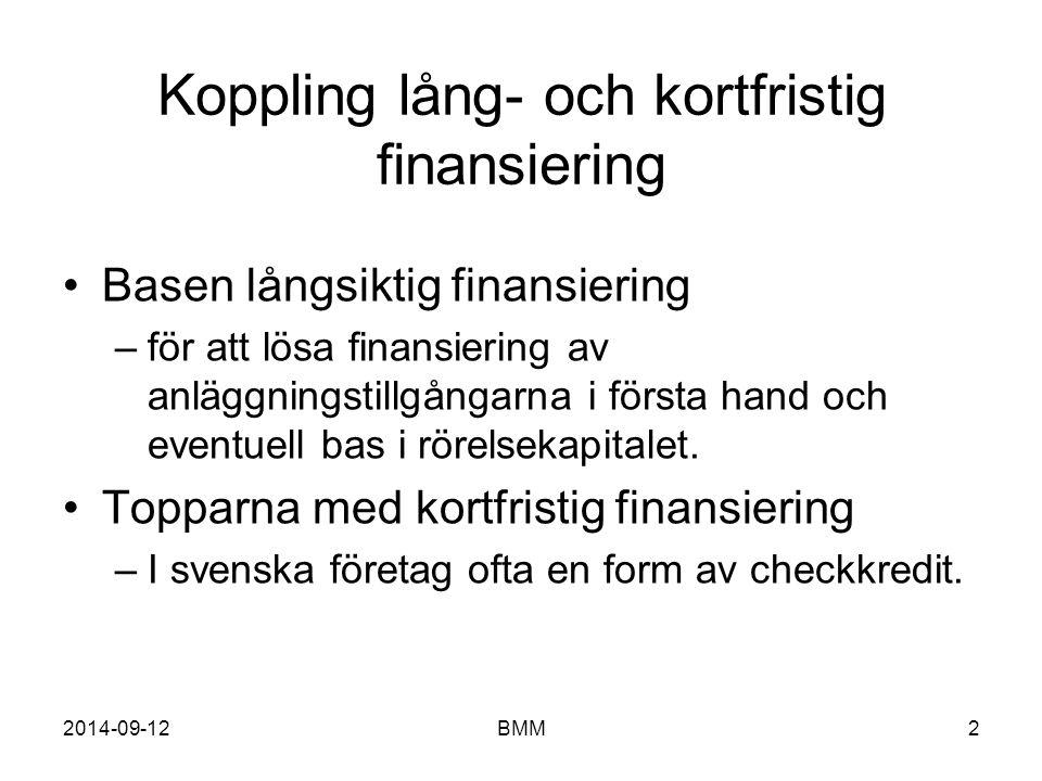 Koppling lång- och kortfristig finansiering