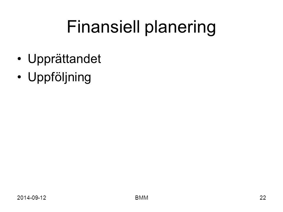 Finansiell planering Upprättandet Uppföljning 2017-04-06 BMM BMM