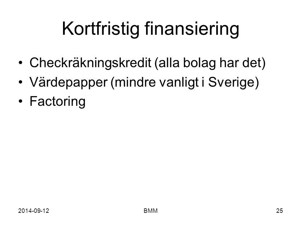 Kortfristig finansiering