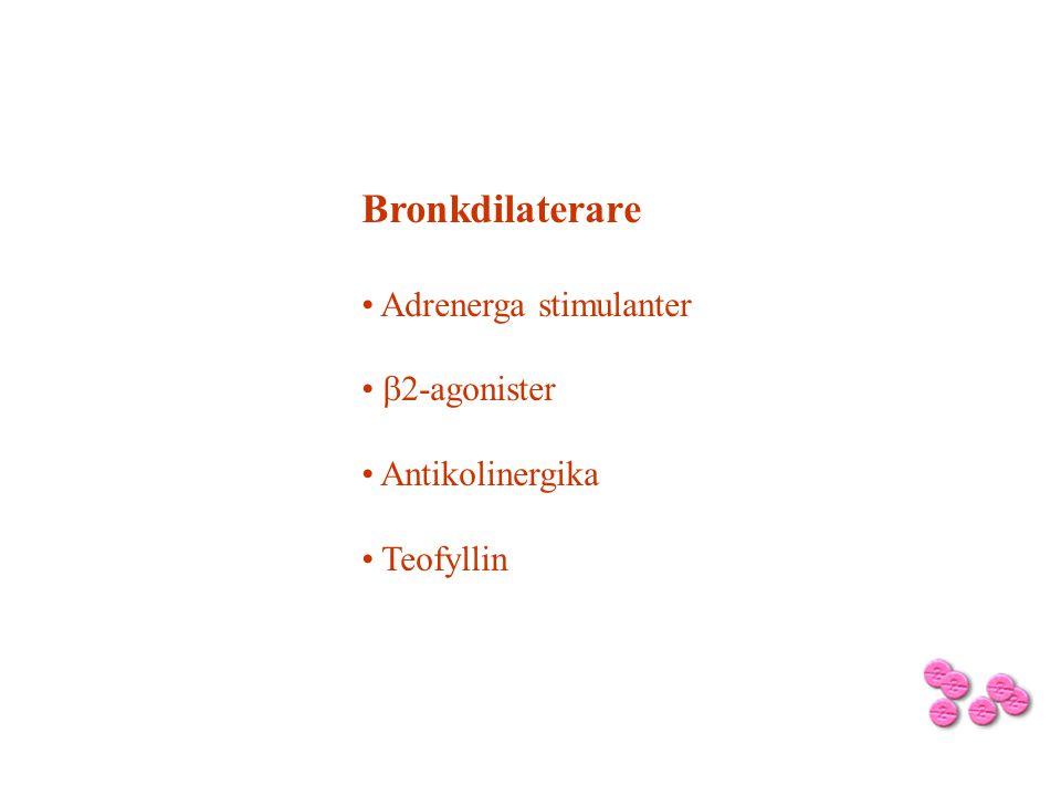 Bronkdilaterare Adrenerga stimulanter b2-agonister Antikolinergika