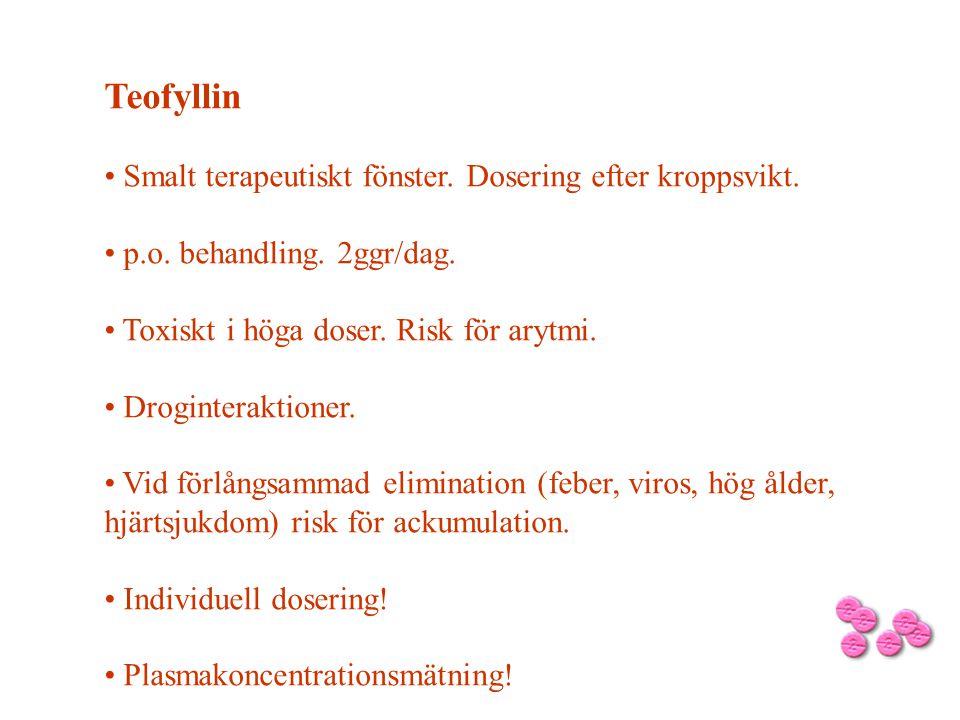 Teofyllin Smalt terapeutiskt fönster. Dosering efter kroppsvikt.