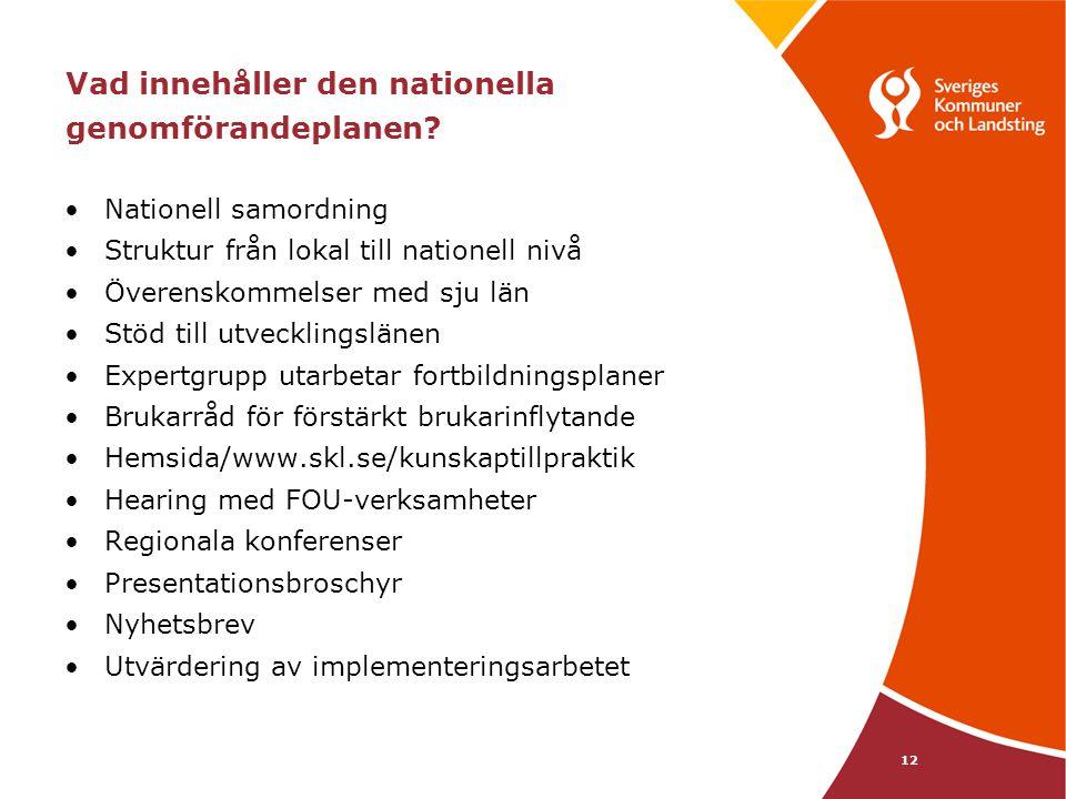 Vad innehåller den nationella genomförandeplanen