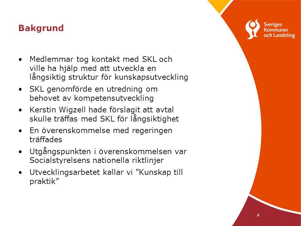 Bakgrund Medlemmar tog kontakt med SKL och ville ha hjälp med att utveckla en långsiktig struktur för kunskapsutveckling.
