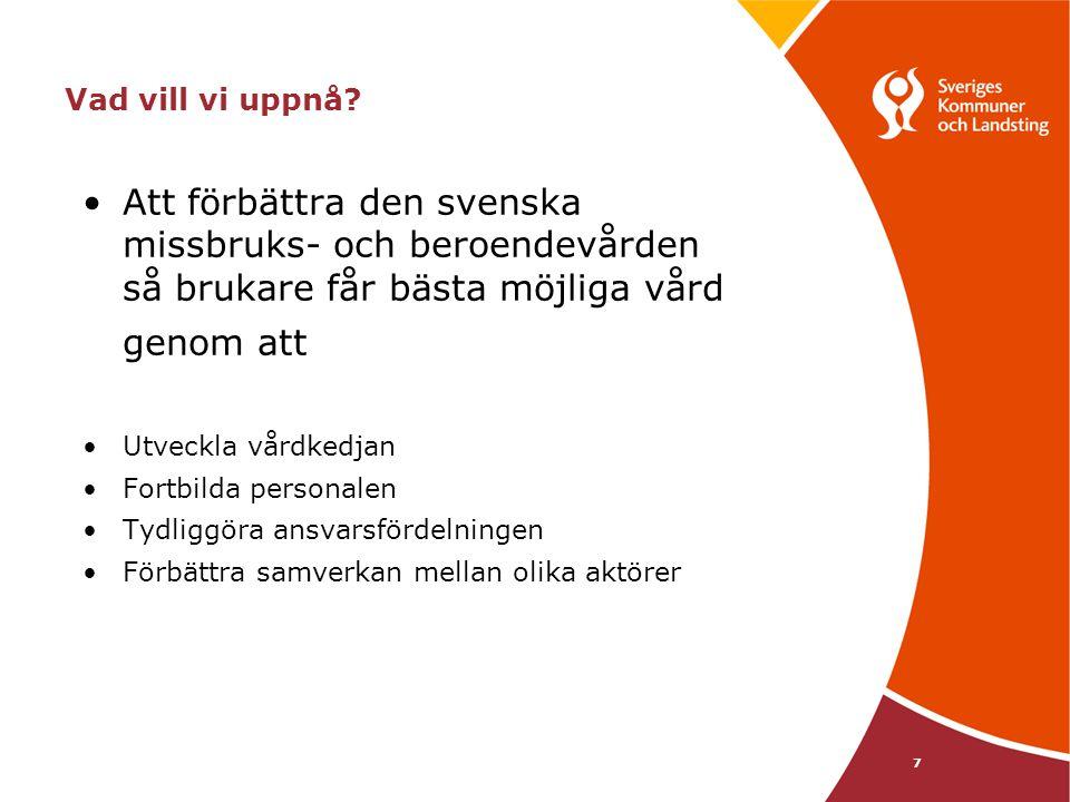 Vad vill vi uppnå Att förbättra den svenska missbruks- och beroendevården så brukare får bästa möjliga vård.