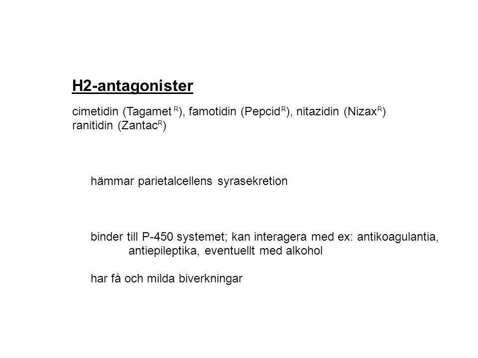 H2-antagonister cimetidin (Tagamet ), famotidin (Pepcid