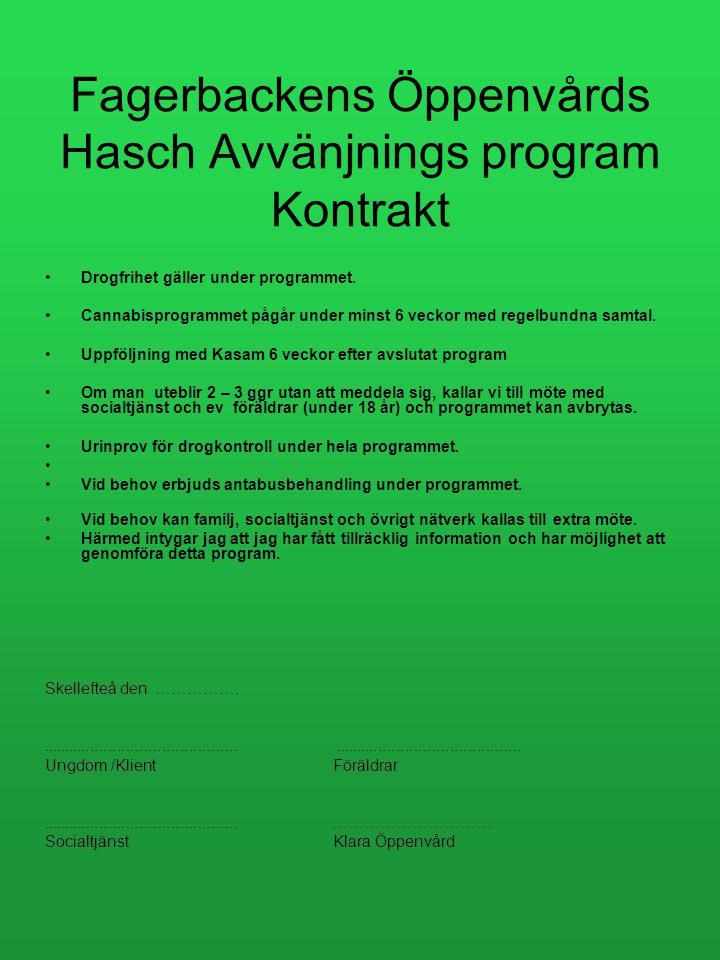Fagerbackens Öppenvårds Hasch Avvänjnings program Kontrakt