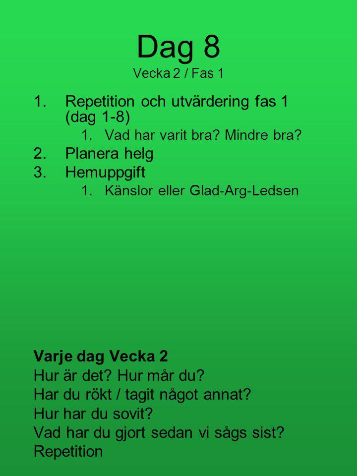 Dag 8 Vecka 2 / Fas 1 Repetition och utvärdering fas 1 (dag 1-8)