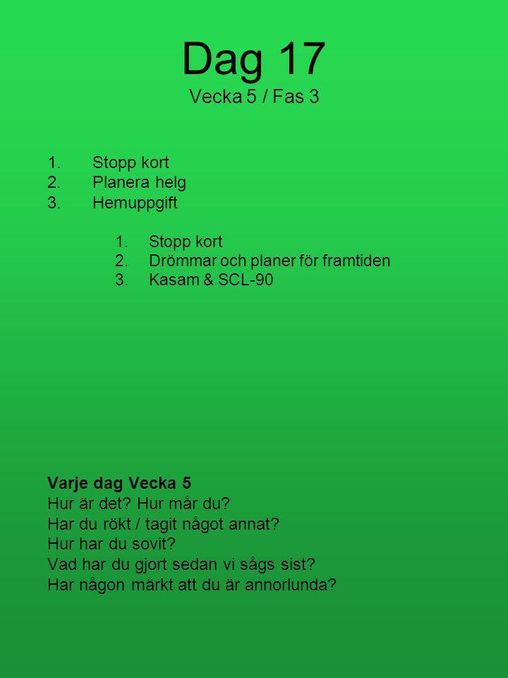 Dag 17 Vecka 5 / Fas 3 Stopp kort Planera helg Hemuppgift