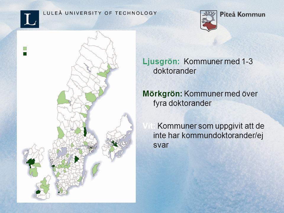Ljusgrön: Kommuner med 1-3 doktorander