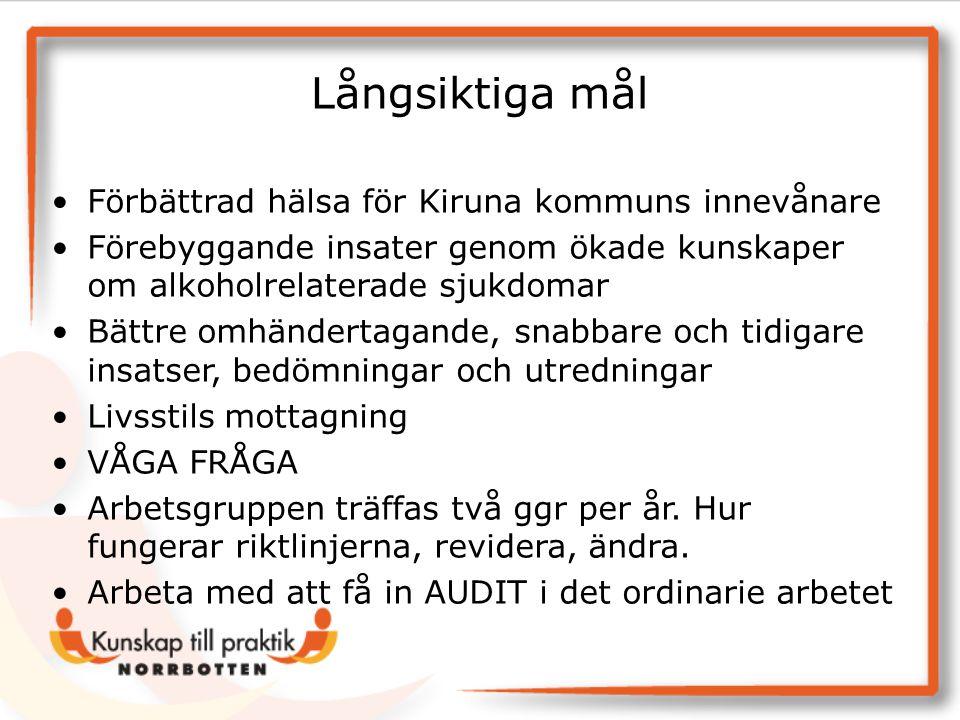 Långsiktiga mål Förbättrad hälsa för Kiruna kommuns innevånare