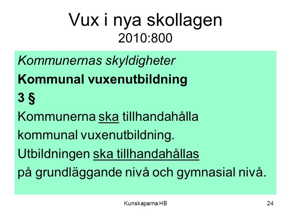 Vux i nya skollagen 2010:800 Kommunernas skyldigheter
