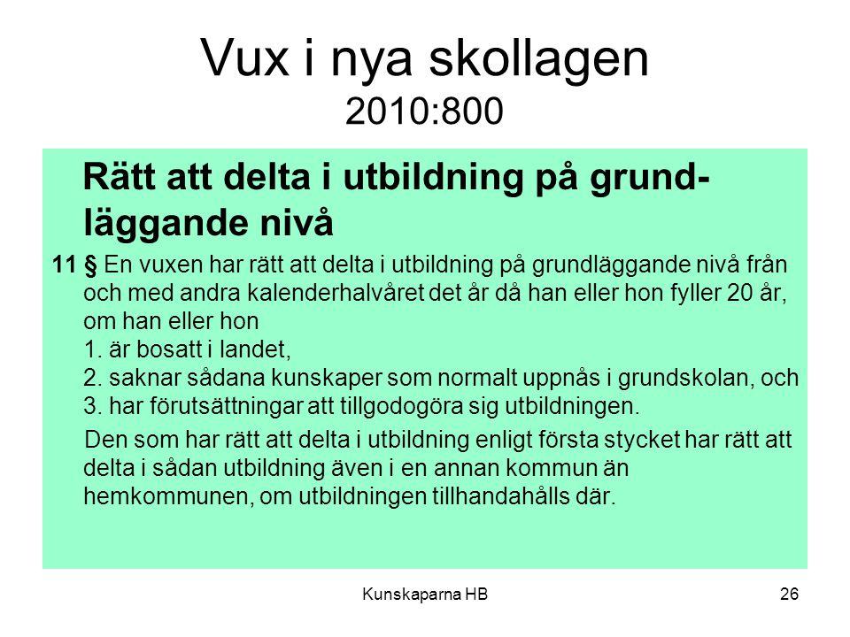 Vux i nya skollagen 2010:800 Rätt att delta i utbildning på grund-läggande nivå.