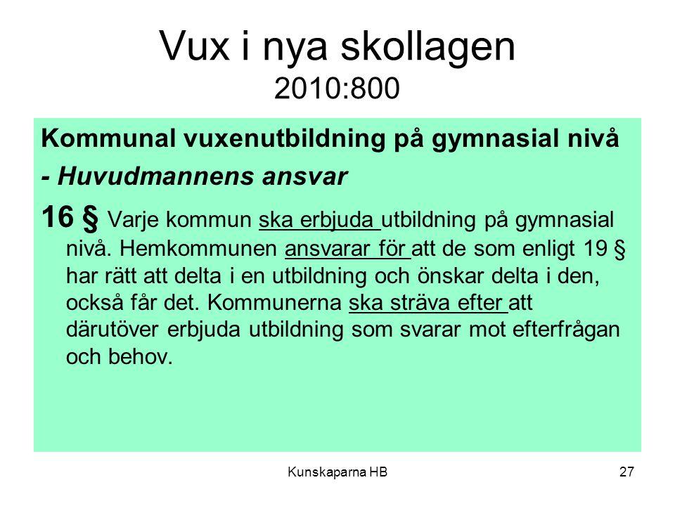 Vux i nya skollagen 2010:800 Kommunal vuxenutbildning på gymnasial nivå. - Huvudmannens ansvar.