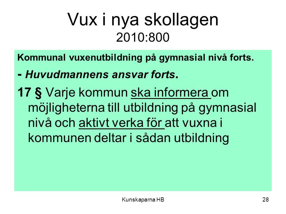 Vux i nya skollagen 2010:800 - Huvudmannens ansvar forts.