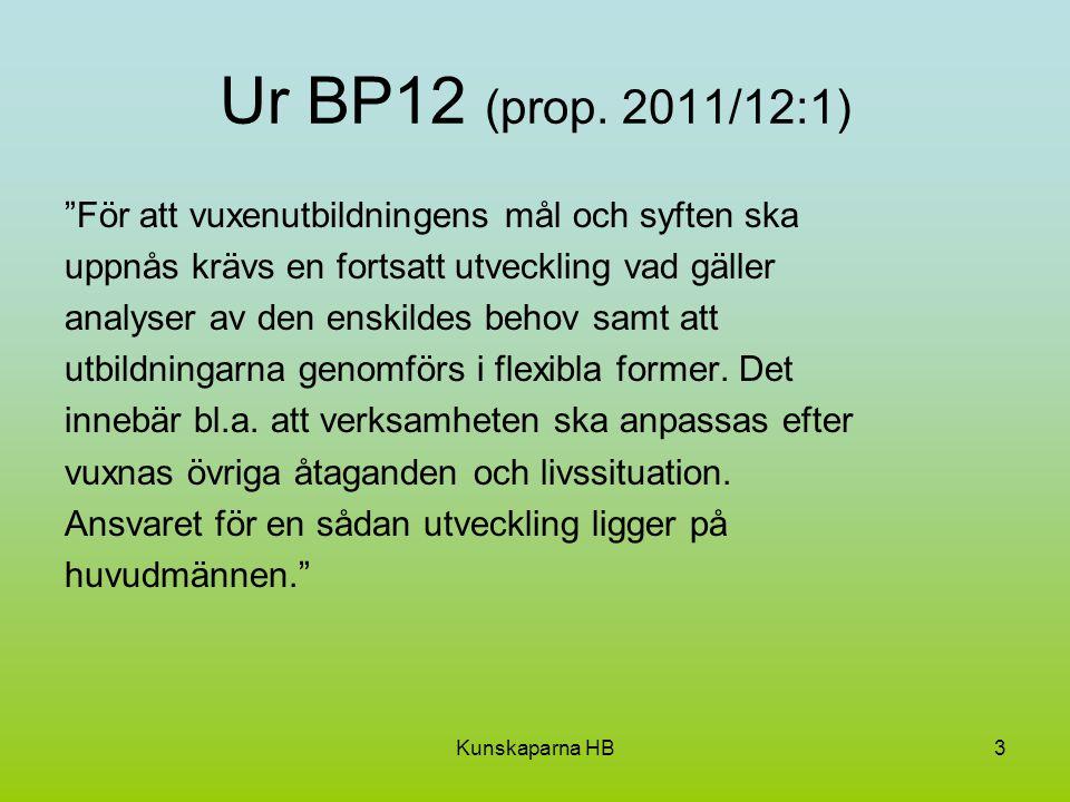 Ur BP12 (prop. 2011/12:1) För att vuxenutbildningens mål och syften ska. uppnås krävs en fortsatt utveckling vad gäller.