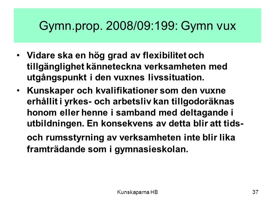 Gymn.prop. 2008/09:199: Gymn vux