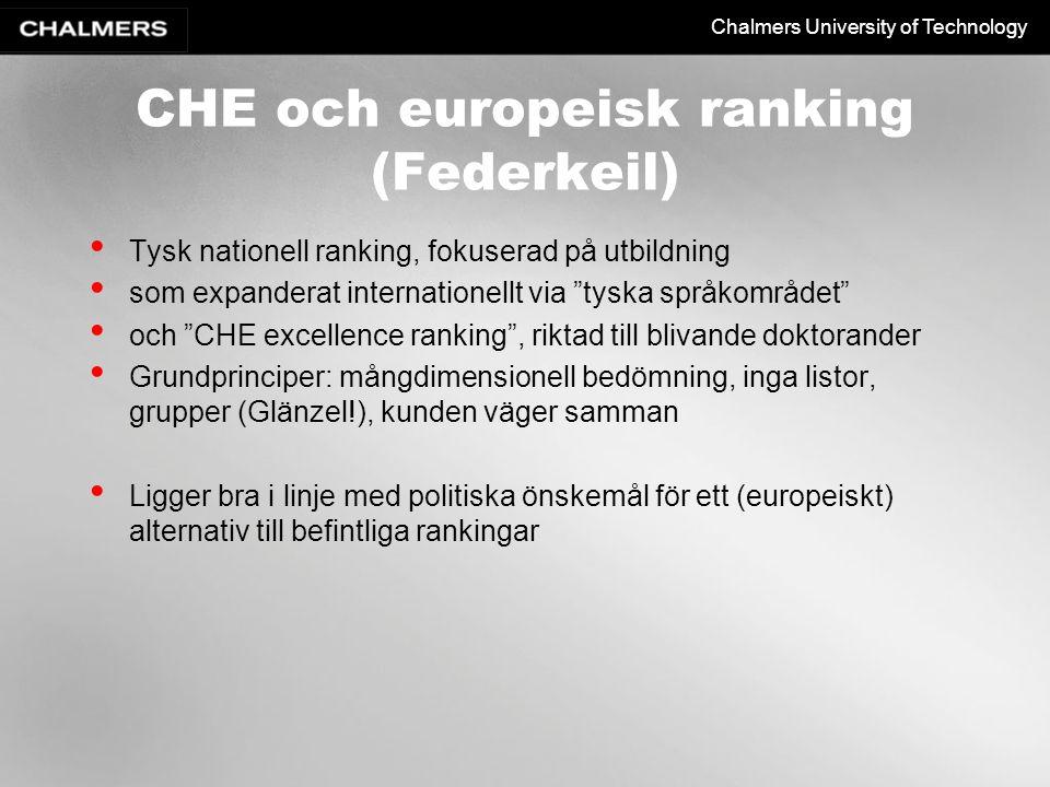 CHE och europeisk ranking (Federkeil)