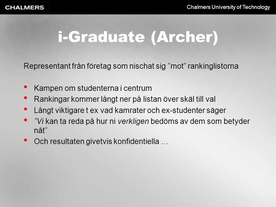 i-Graduate (Archer) Representant från företag som nischat sig mot rankinglistorna. Kampen om studenterna i centrum.