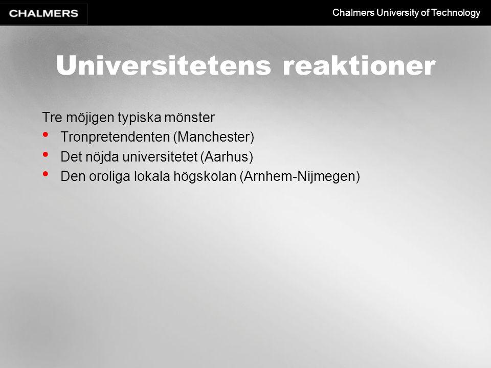 Universitetens reaktioner
