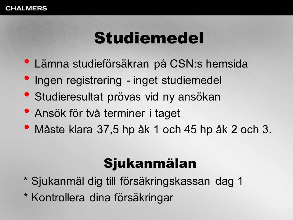 Studiemedel Sjukanmälan Lämna studieförsäkran på CSN:s hemsida