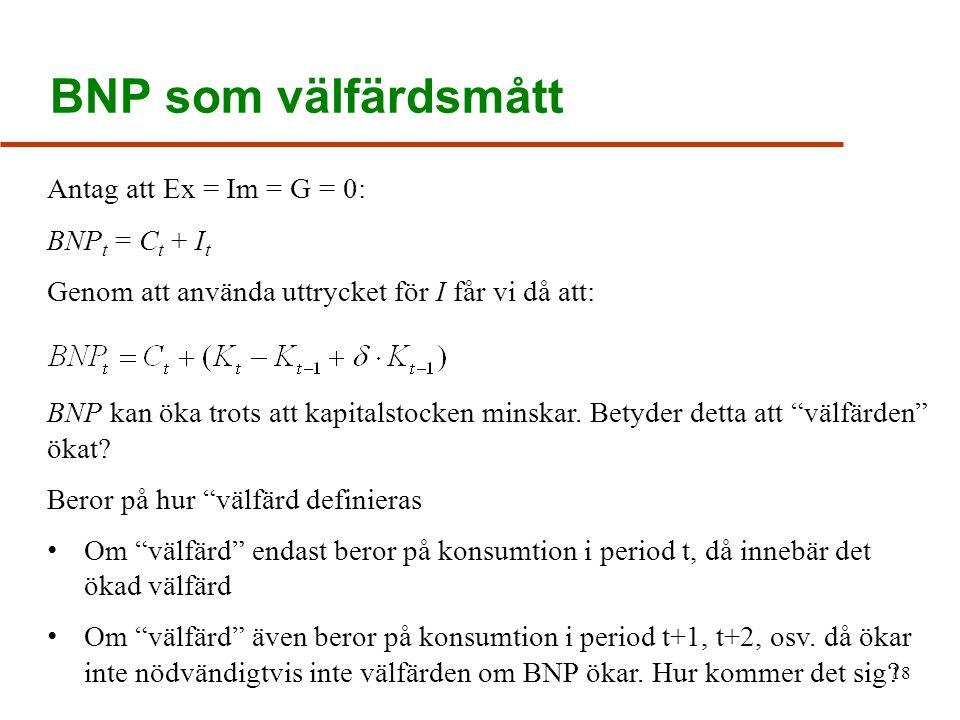 BNP som välfärdsmått Antag att Ex = Im = G = 0: BNPt = Ct + It