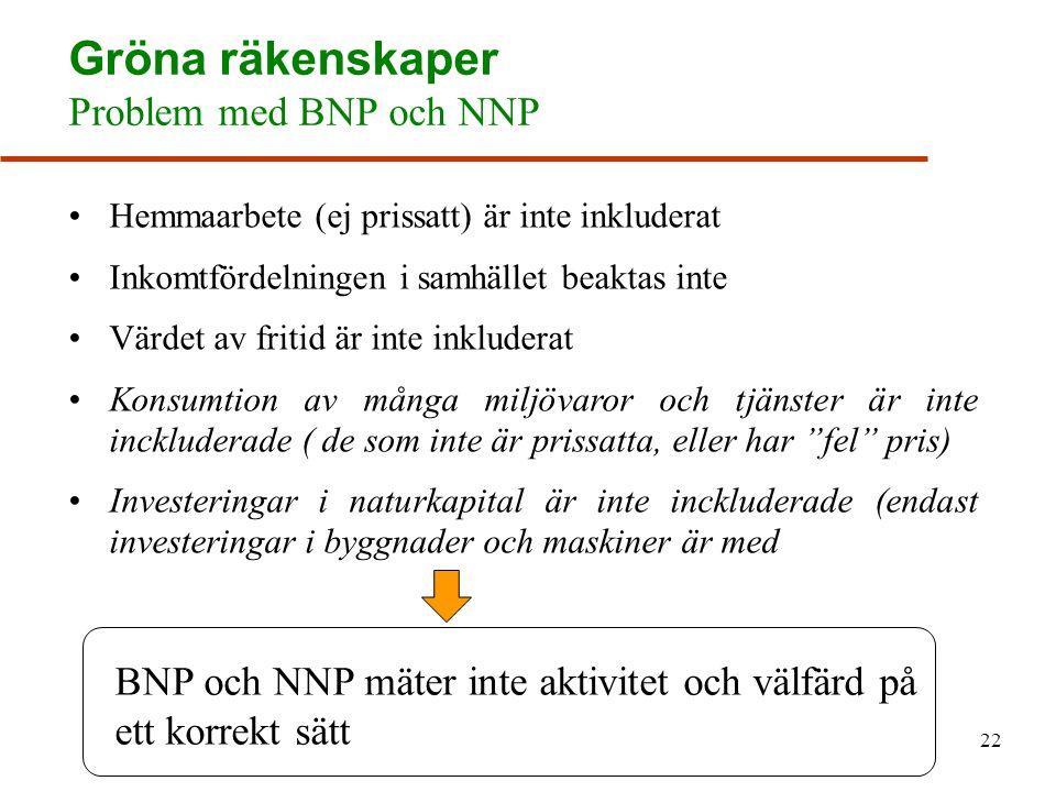 Gröna räkenskaper Problem med BNP och NNP