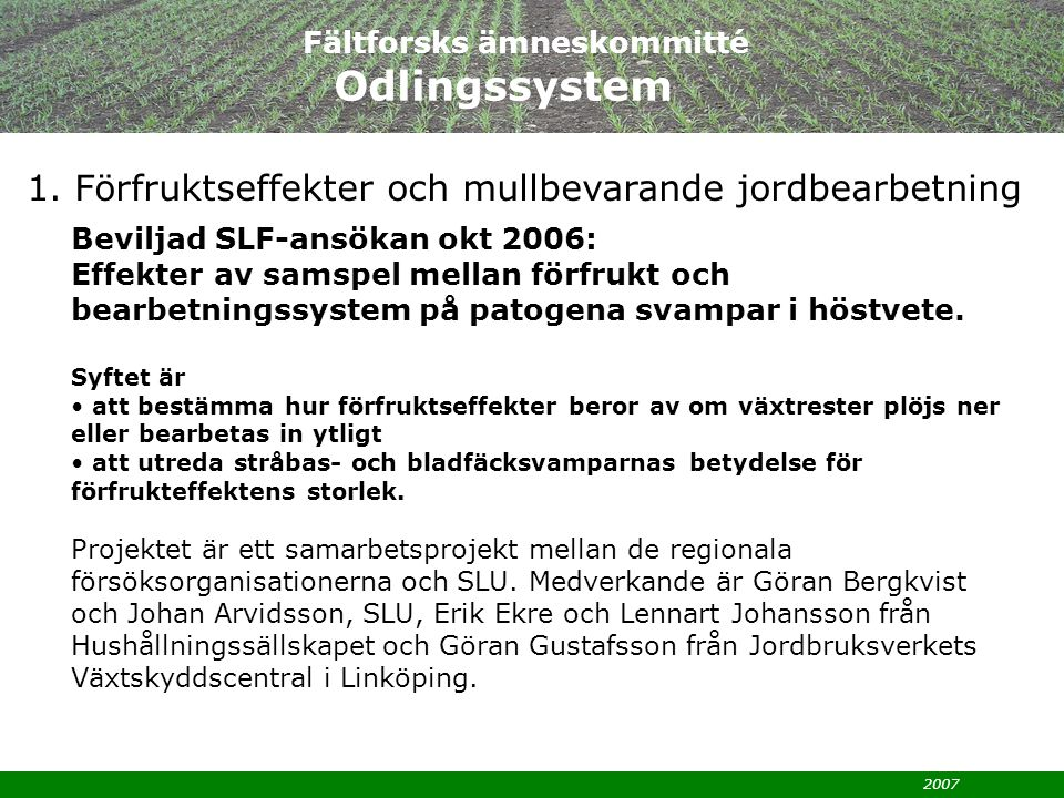 Fältforsks ämneskommitté Odlingssystem