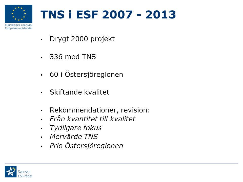 TNS i ESF 2007 - 2013 Drygt 2000 projekt 336 med TNS