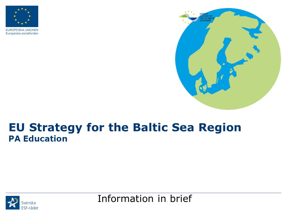 EU Strategy for the Baltic Sea Region PA Education